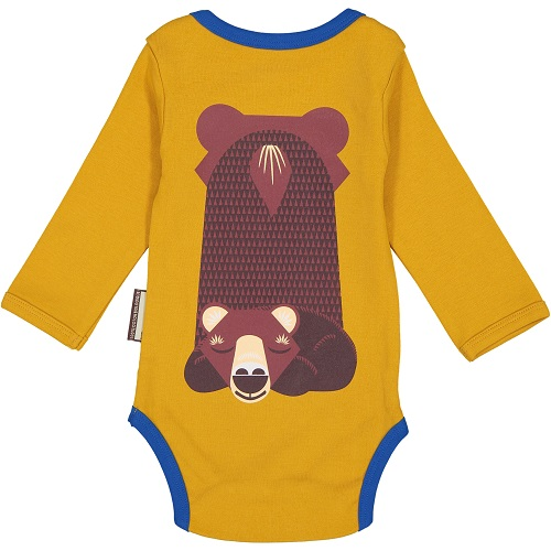 Long Sleeve Onesie With Bib - Brown Bear 3-6 mnth