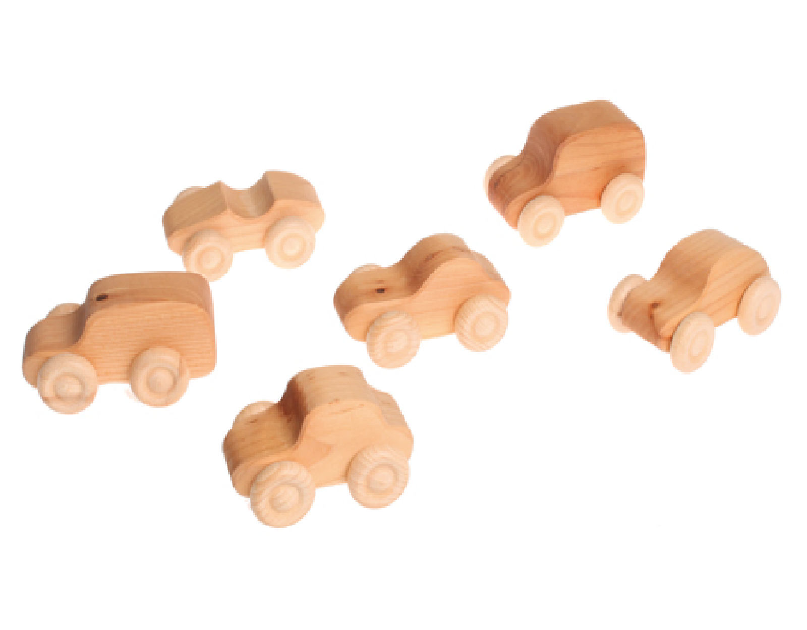 Cars 6 pcs, natural