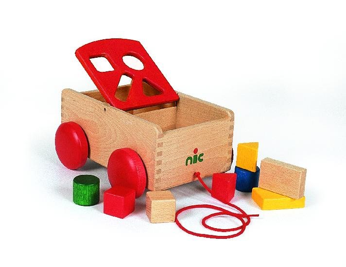 NIC carriage with shapes, red (23cm)
