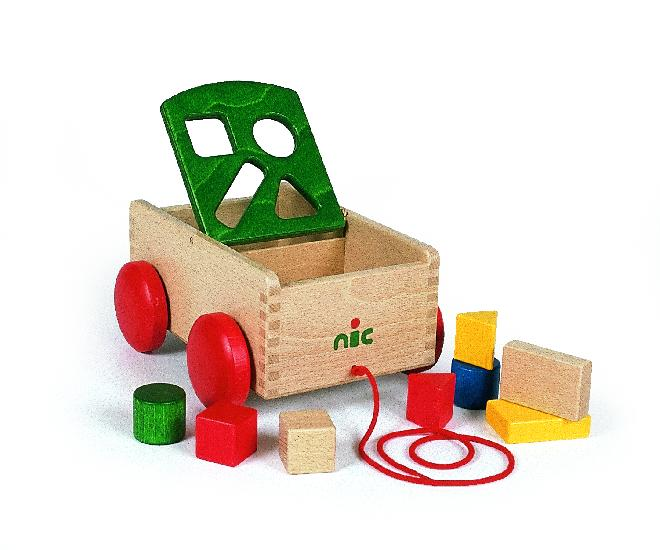 NIC carriage with shapes,  green (23cm)
