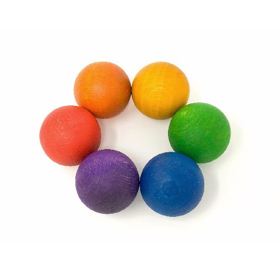 Wood Coloured Balls 6 pcs (6 Colours)