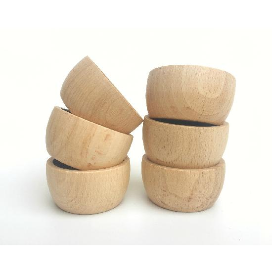 Wood Natural Bowls 6 pcs