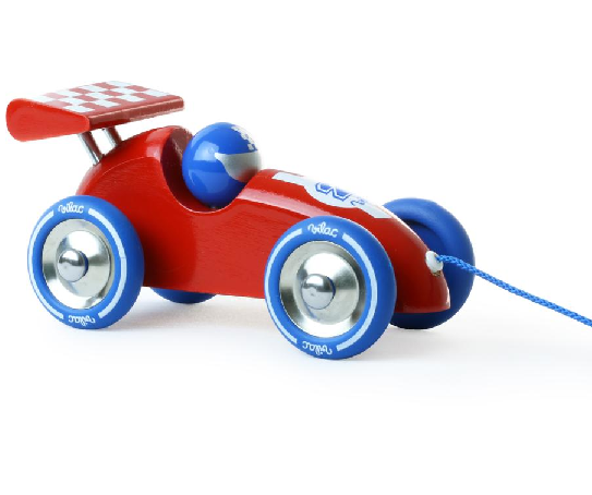 Vehicle - Pull Along Racing Car, Red and Blue