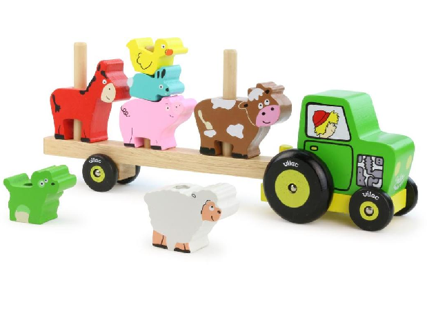 Vehicle - Stacking tractor and trailer with animals