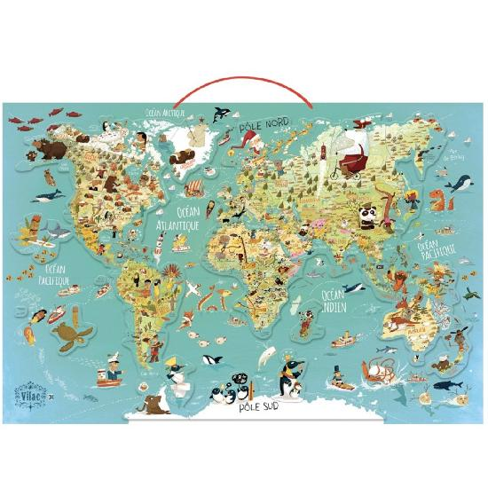 Puzzle - World magnetic map wood (French ver.)