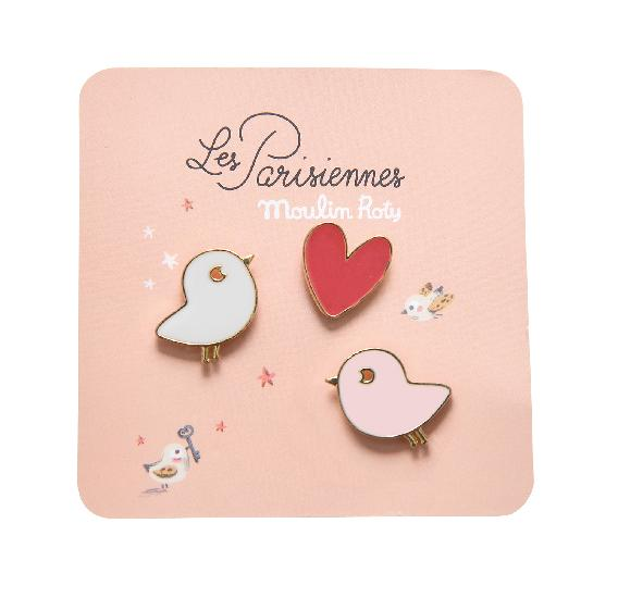 Parisiennes - Birds Lacquered Pins (set of 3)