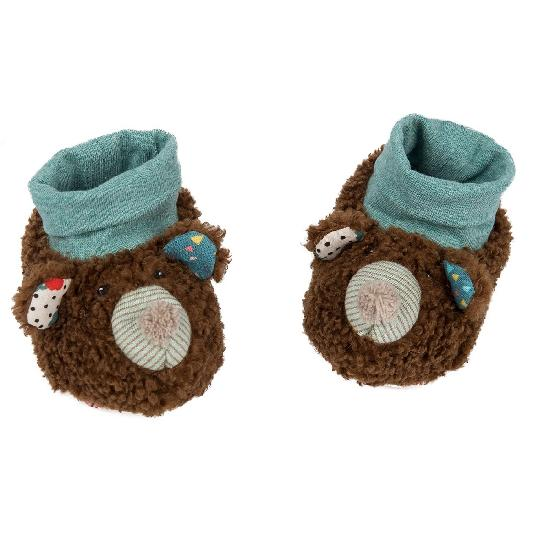 Jolis Trop Beaux - bear slippers (0-6 mnths)