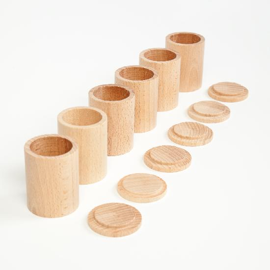 Wood Natural Cups With Lids x 6