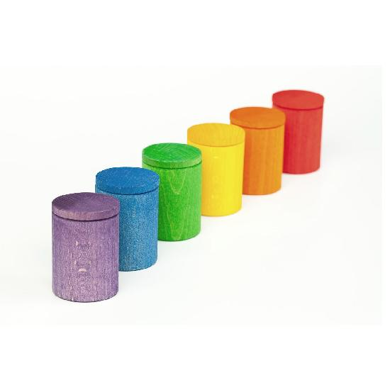 Wood Coloured Cups With Lids x 6