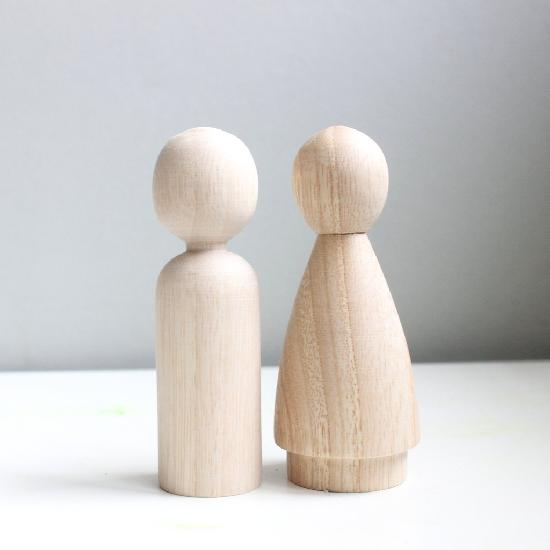 Wood Blank Couple Peg People (2 dolls)