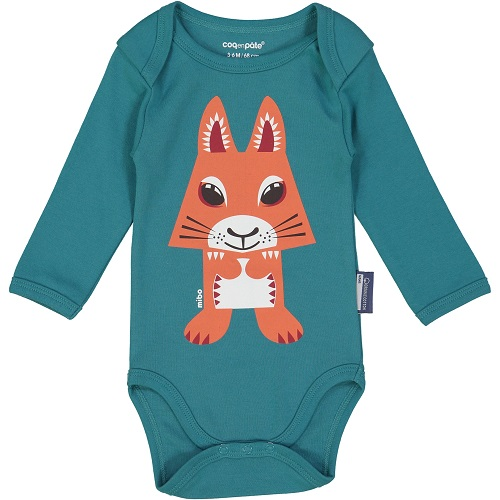 Long Sleeve Onesie With Bib - Squirrel 3-6 mnth